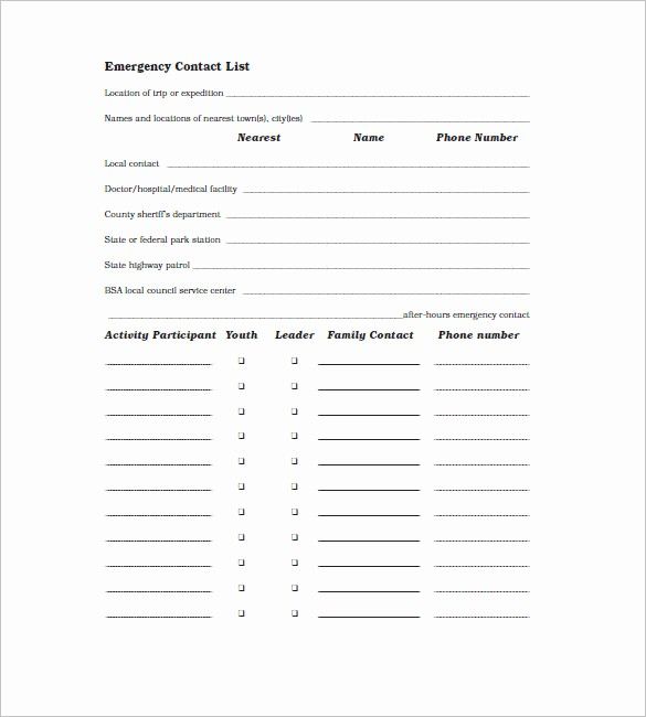 Contact Information form Template Word Luxury Contact List Template 10 Free Word Excel Pdf format