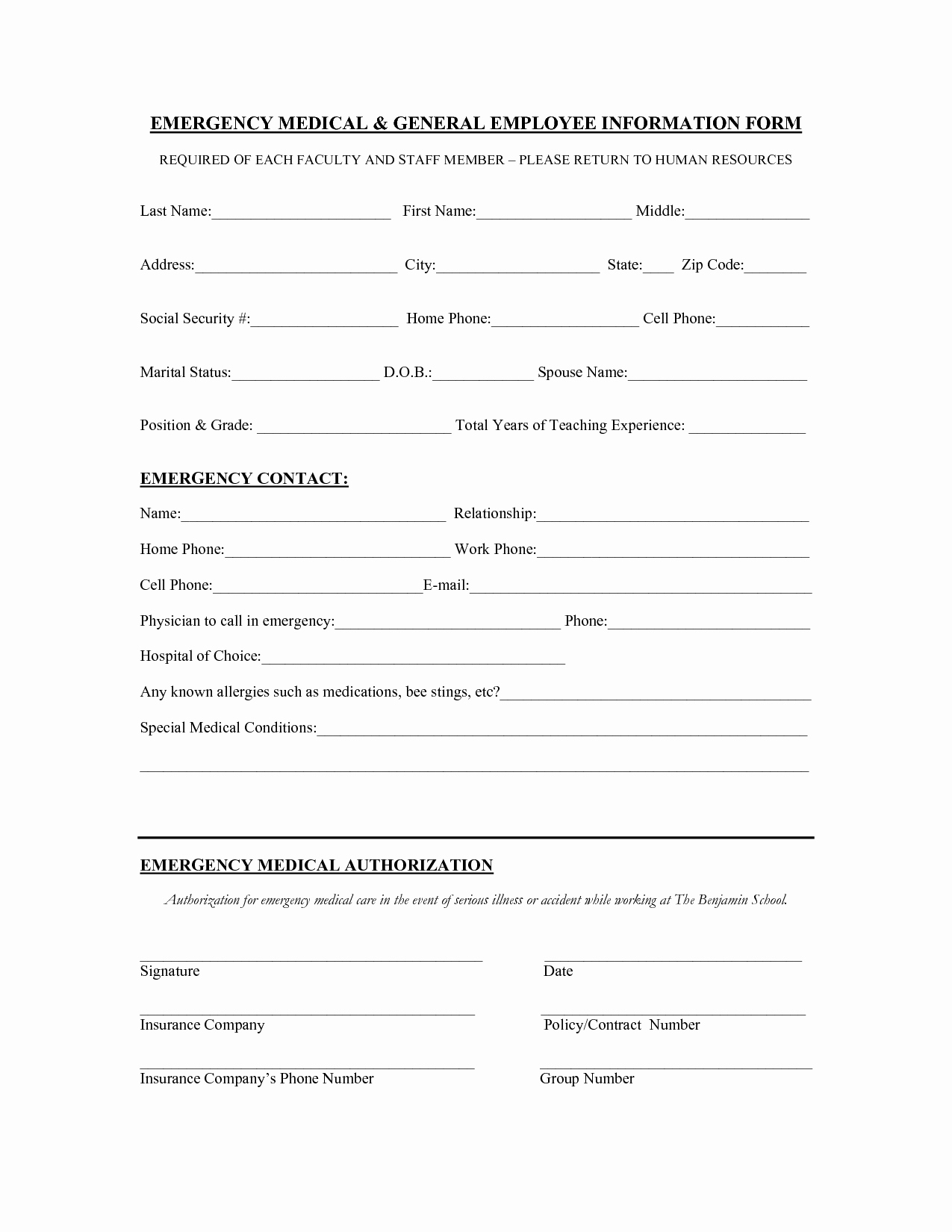 Contact Information form Template Word Luxury Employee Contact Information Template Staruptalent