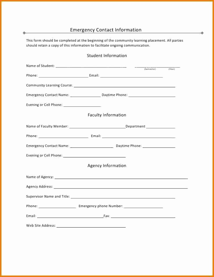 Contact Information form Template Word New 29 Luxury Emergency Contact form Template for Child