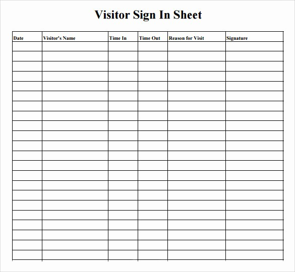 Contractor Sign In Sheet Template Lovely 11 Sample Visitor Sign In Sheets