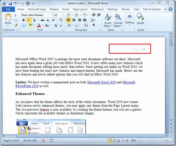 Convert Document to Apa format Lovely Insert Page Numbers In Word 2010 Document