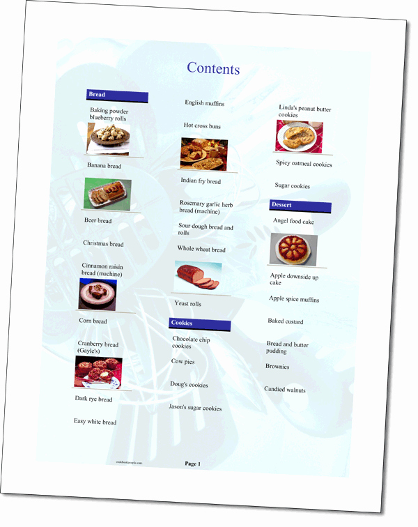 Cookbook Table Of Contents Template Lovely Cooking Template Used to organize Recipes