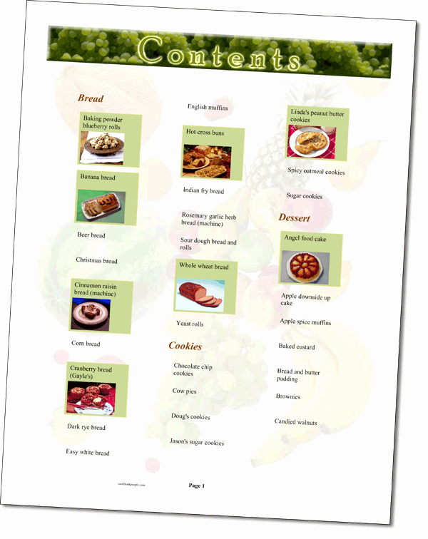 Cookbook Table Of Contents Template Lovely Home Made Cook Book Contents Page