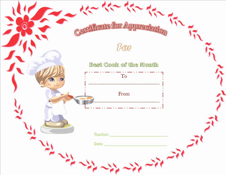 Cooking Class Gift Certificate Template Best Of Best Cooking Appreciation Certificate Template