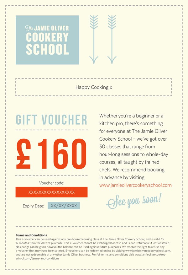 Cooking Class Gift Certificate Template Elegant Treat someone to A Jamie Oliver Cookery School T Voucher