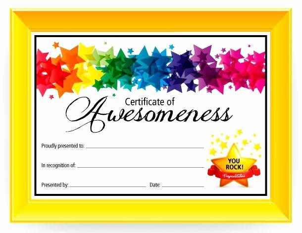 Cooking Class Gift Certificate Template Inspirational Certificate Of Awesomeness