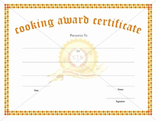 Cooking Class Gift Certificate Template New Cooking School Certificate Template 23 Best Award