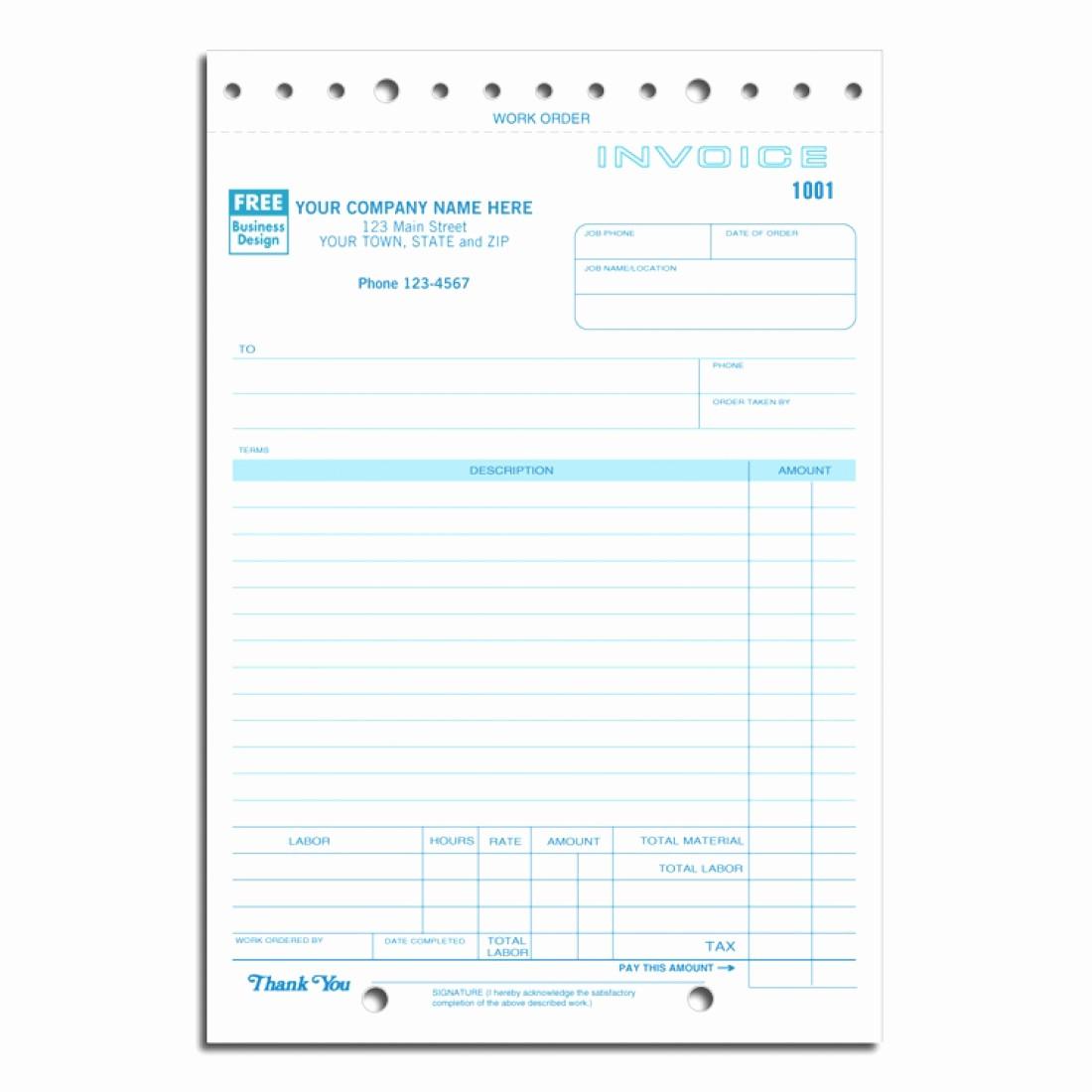 Copies Of Invoices for Free Unique Carbon Copy Job Invoice forms