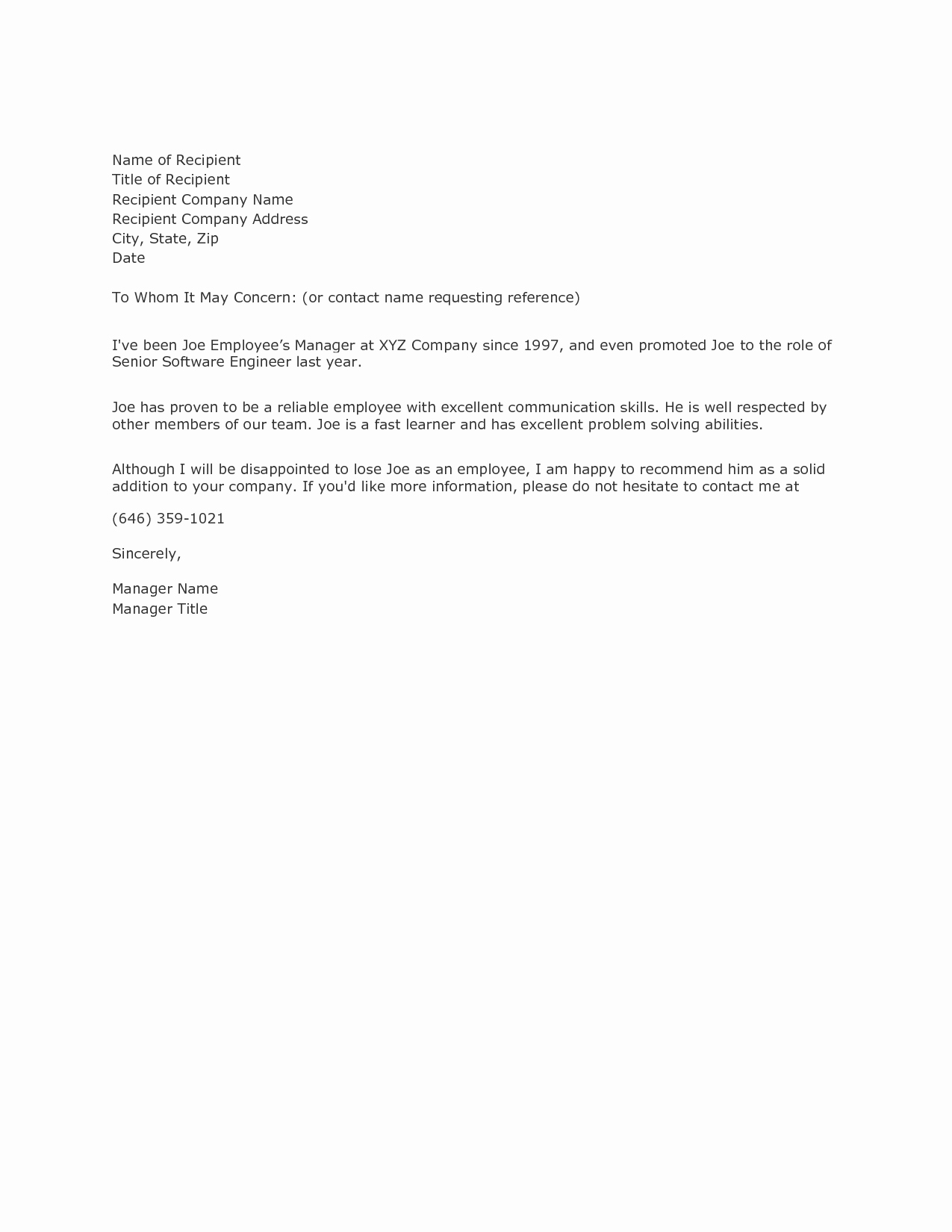 Copy Of A Reference Letter Awesome Writing A Reference Letter Example Samplebusinessresume