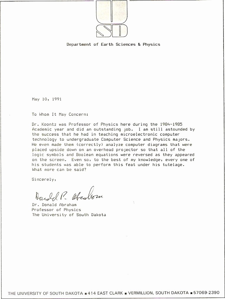 Copy Of A Reference Letter Elegant News Articles and Other Material Relating to Bob Koontz