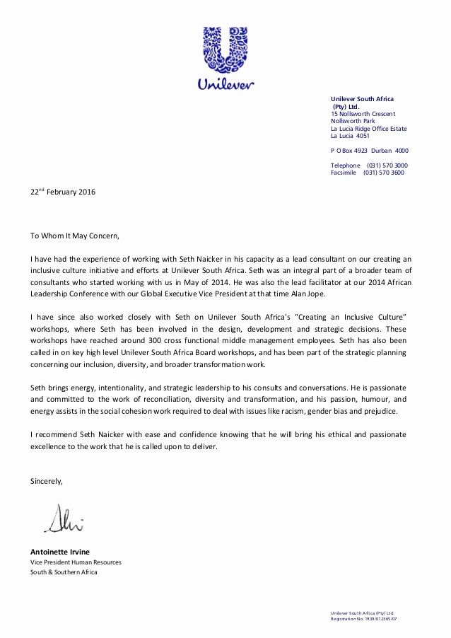 Copy Of A Reference Letter Lovely Letter Of Reference Seth Naicker Unilever 22feb2016 Copy