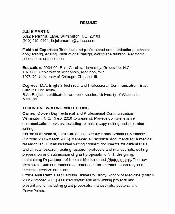 Copy Of A Resume format Beautiful 8 Copy Editor Resume Templates
