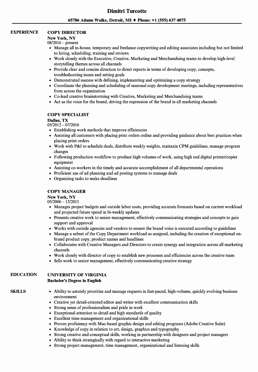 Copy Of A Resume format Best Of Copy Resume Samples
