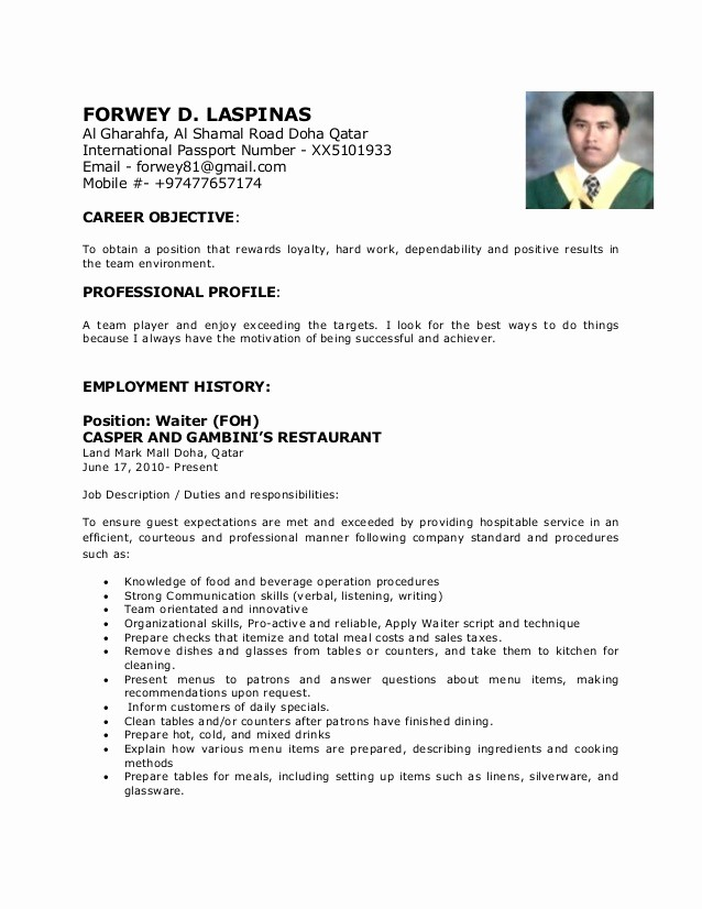 Copy Of A Resume format Fresh forwey Cv New 1 Copy