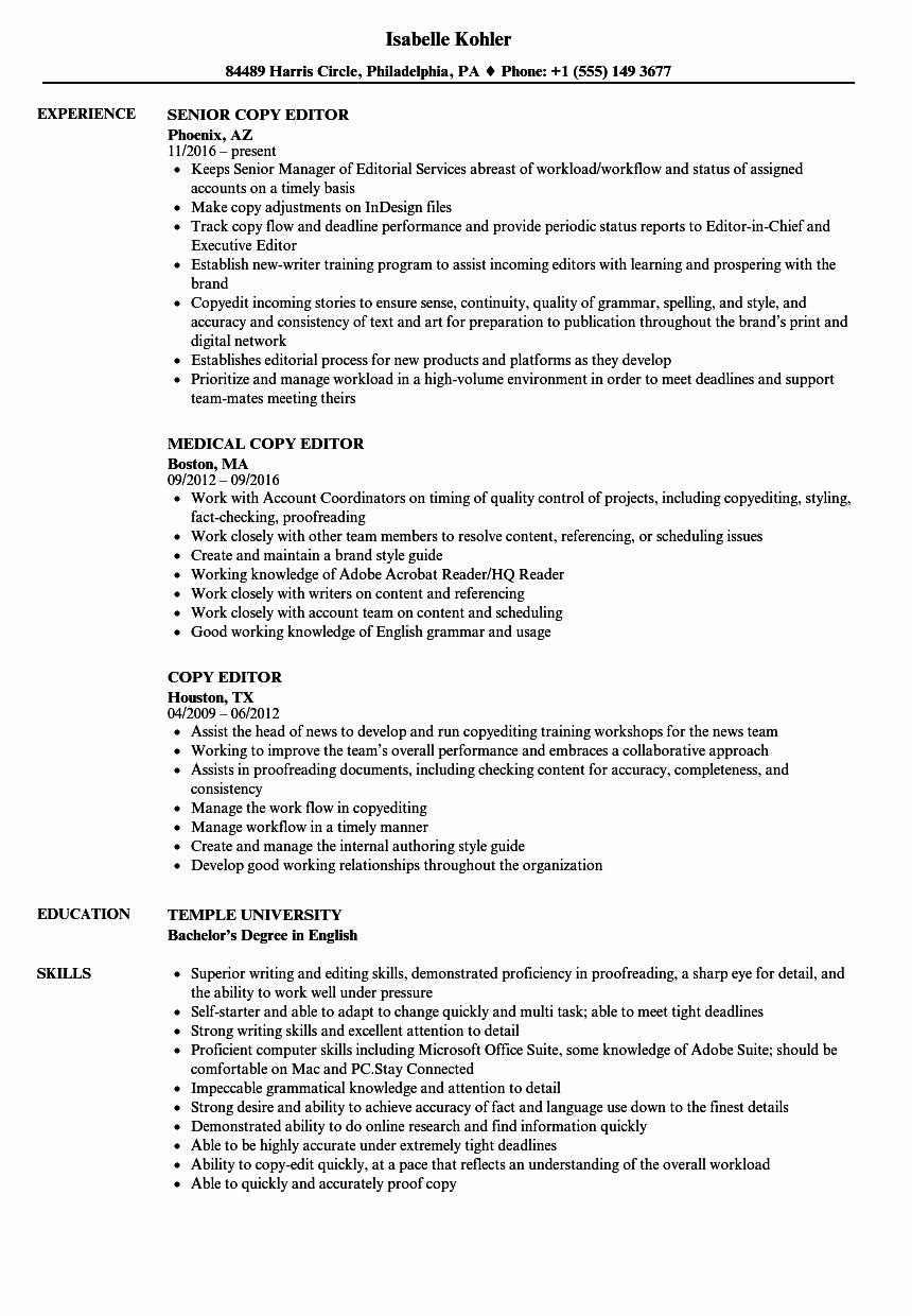 Copy Of A Resume format Fresh Resume Copy Editor Oscarsfurniture Home Interior
