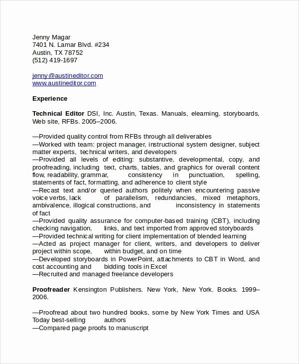 Copy Of A Resume format Luxury Copy Editor Resume