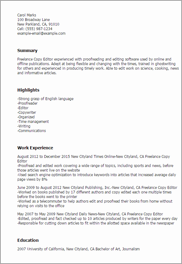 Copy Of A Resume format Luxury Professional Freelance Copy Editor Templates to Showcase