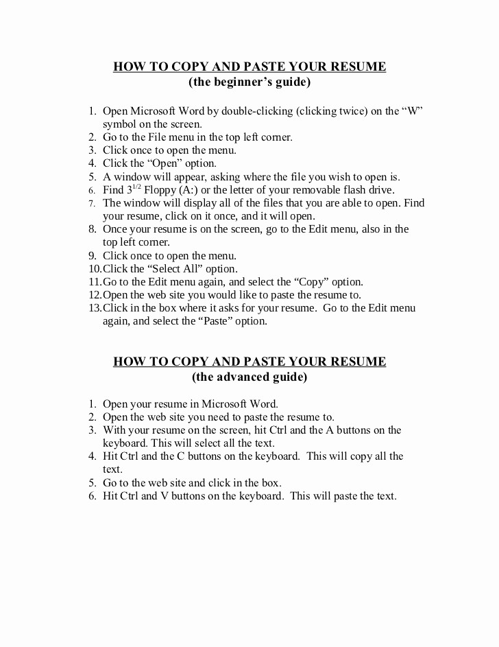 Copy Of A Resume format New Resume format Resume Examples Copy and Paste