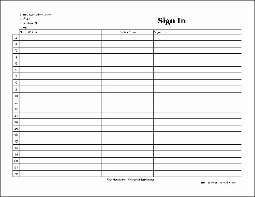 F830 Easy Copy Simple pany Sign In Sheet with Signatures Wide