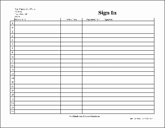 Copy Of Sign In Sheet Luxury Free Easy Copy Basic Pany Sign In Sheet with Signatures