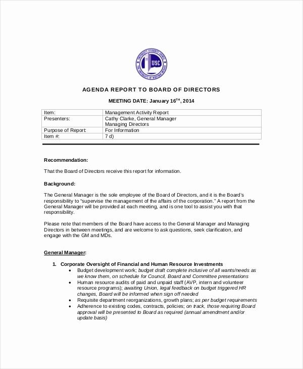 Corporate Board Meeting Minutes Template Beautiful Board Of Directors Meeting Agenda Template – 8 Free Word