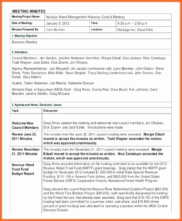 Corporate Board Meeting Minutes Template Elegant Sample Meeting Minutes format Co Template Pdf Board