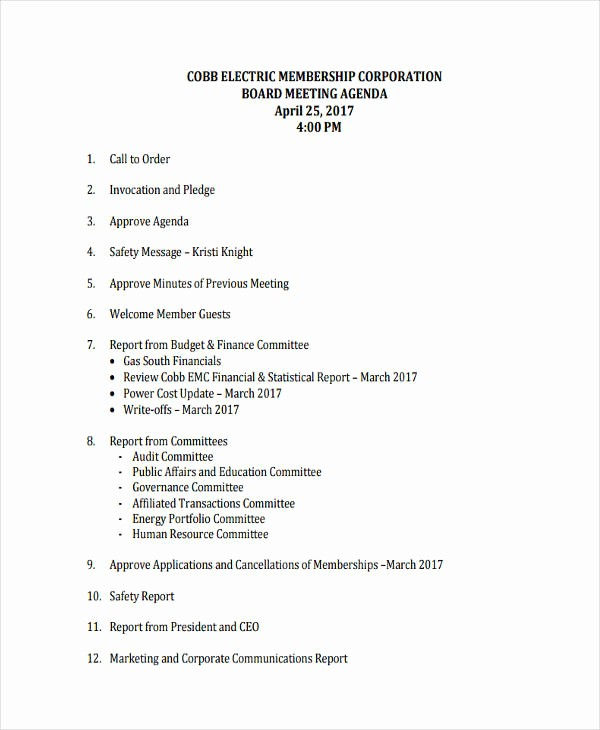 Corporate Board Meeting Minutes Template Fresh 33 Agenda Template Designs