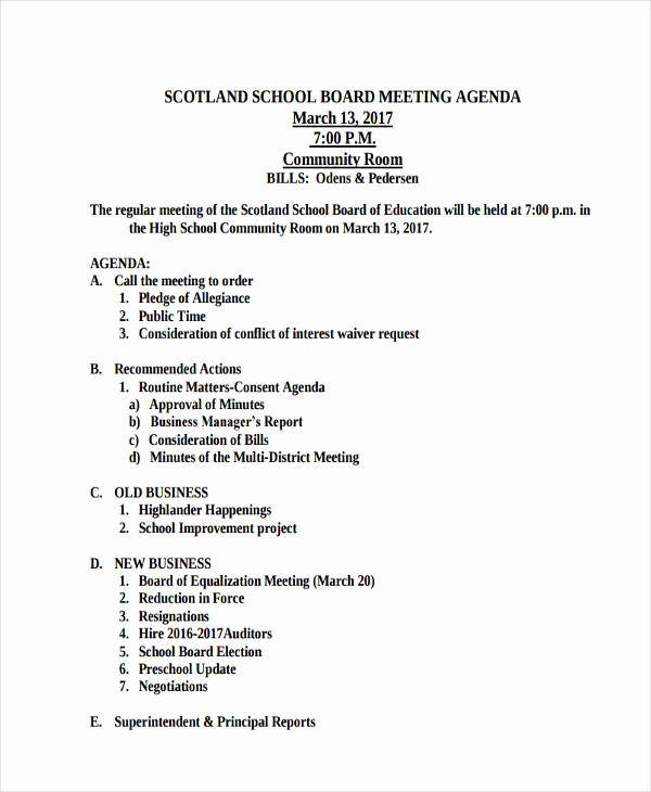 Corporate Board Meeting Minutes Template Fresh 46 Meeting Agenda Templates