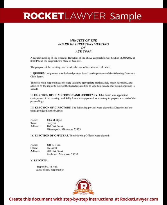 Corporate Board Meeting Minutes Template Lovely Corporate Minutes Corporate Minutes Template with Sample