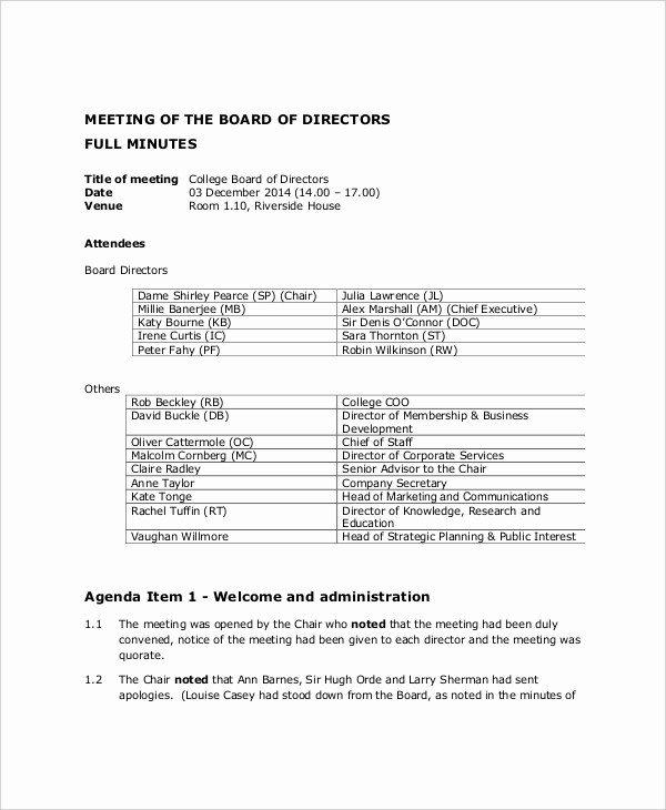 Corporate Board Meeting Minutes Template New 12 Board Of Directors Meeting Agenda Templates – Free