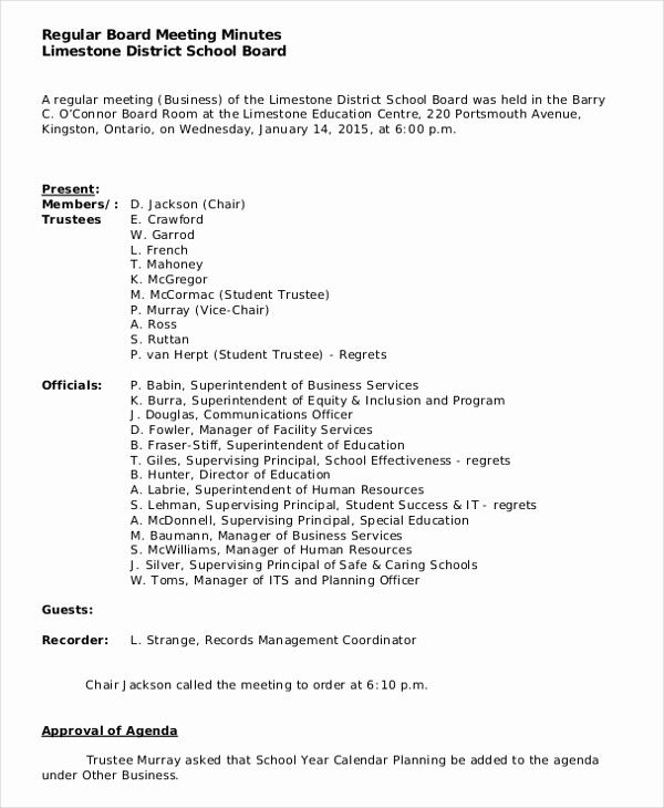 Corporate Board Meeting Minutes Template New 16 Construction Minutes Templates – Free Sample Example