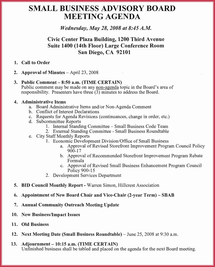 Corporate Board Meeting Minutes Template New Board Meeting Agenda Template 10 Free Samples formats