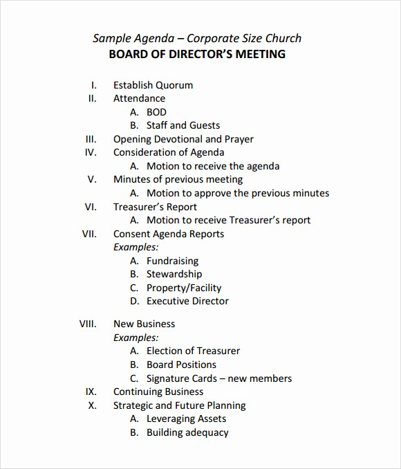 Corporate Board Meeting Minutes Template Unique 12 Sample Board Meeting Agenda Templates