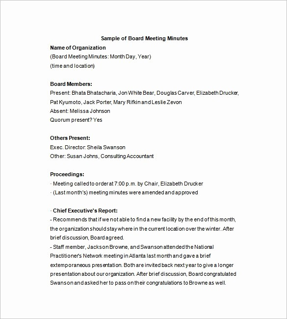 Corporate Board Meeting Minutes Template Unique Board Of Directors Meeting Minutes Template 12 Example
