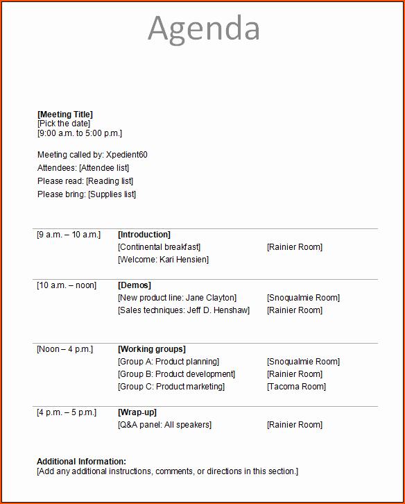 Corporate Meeting Minutes Template Free Elegant 5 Business Agenda Template Bookletemplate