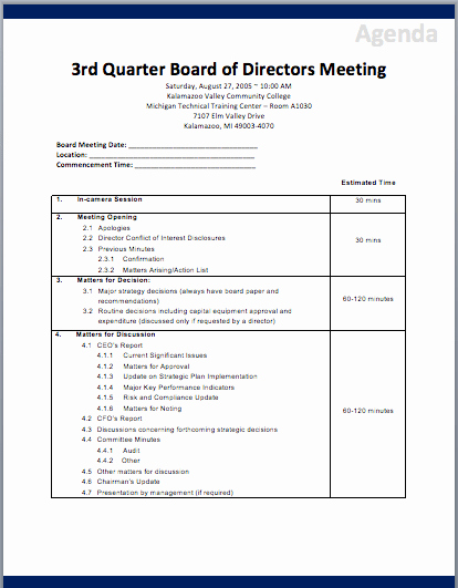 Corporate Meeting Minutes Template Free Inspirational Board Of Directors Meeting Agenda Template