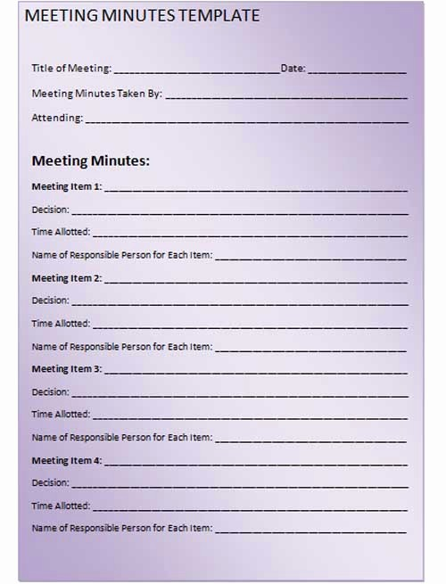 Corporate Meeting Minutes Template Free Inspirational Meeting Minutes Template