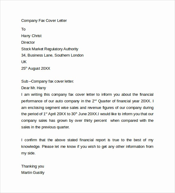 Cover Letter for Fax Document Fresh 10 Fax Cover Letter Templates – Samples Examples & format
