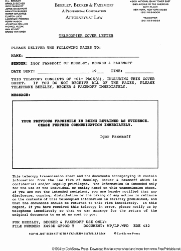Cover Letter for Fax Document Unique Legal Notice to Stop Faxing Fax Cover Sheet