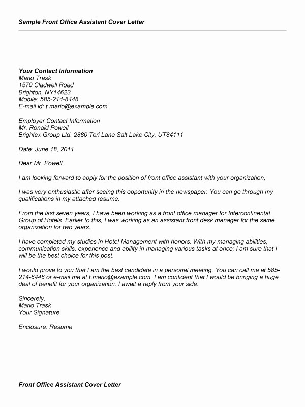 Cover Letter for Office Work Awesome Fice assistant Cover Letter