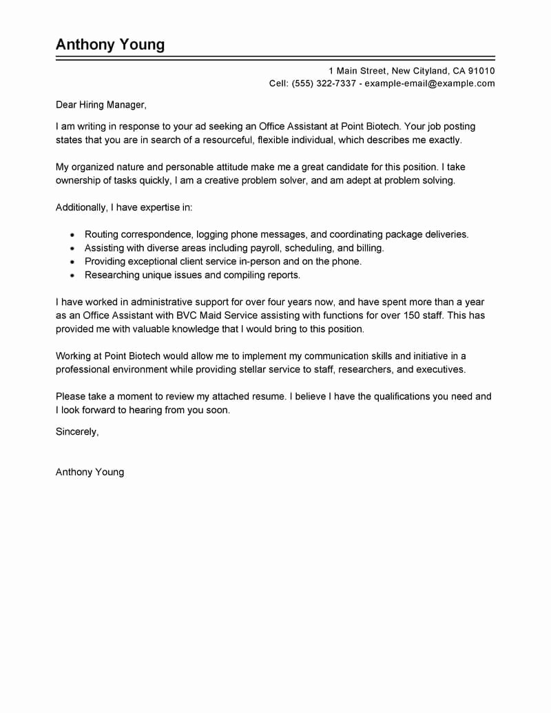 Cover Letter for Office Work Elegant Best Fice assistant Cover Letter Examples