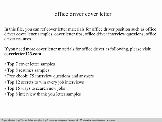 Cover Letter for Office Work Fresh Fice Driver Cover Letter