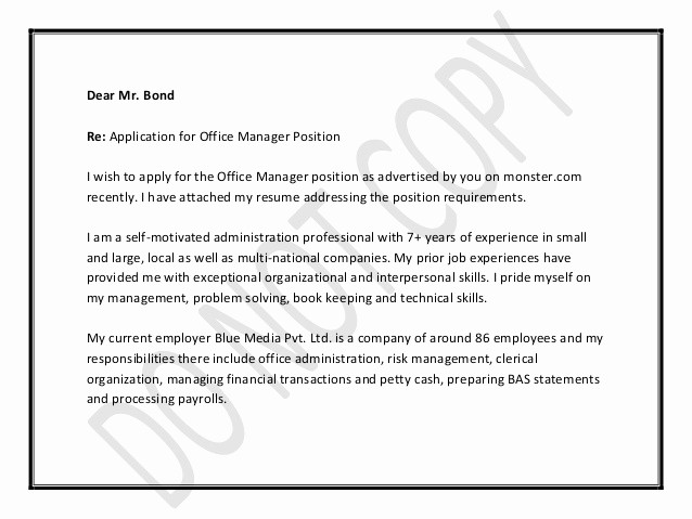 Cover Letter for Office Work Fresh Fice Manager Cover Letter