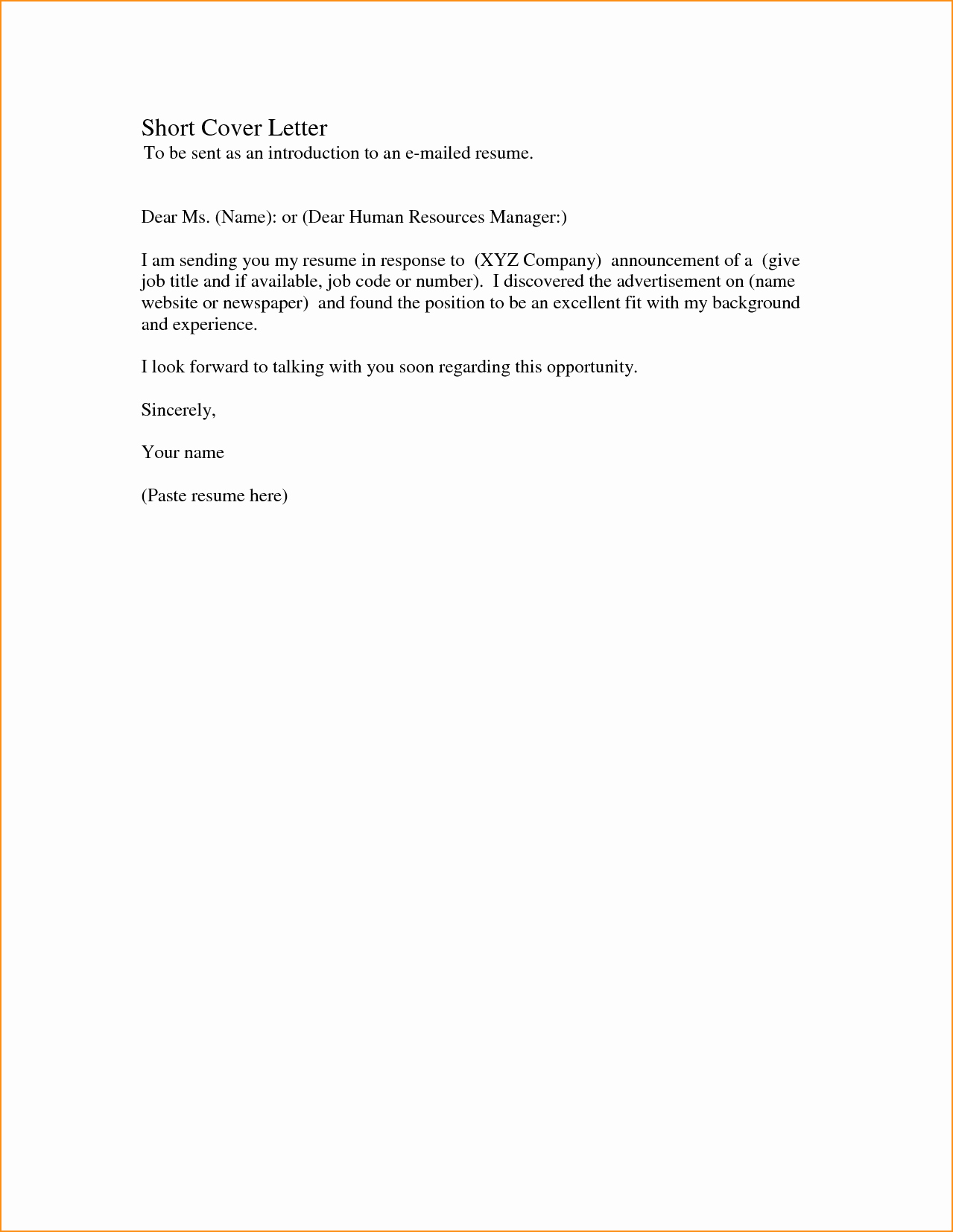 Cover Letter for Office Work Fresh Short Cover Letter for A Job Application