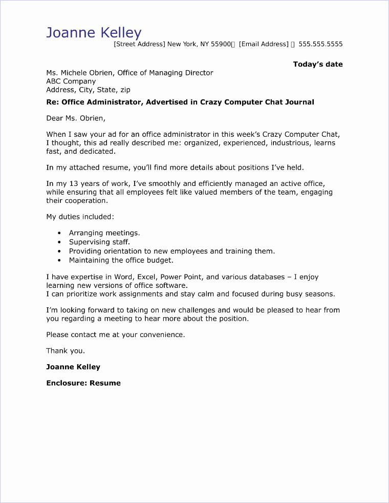 Cover Letter for Office Work Lovely Fice Administrator Cover Letter Sample