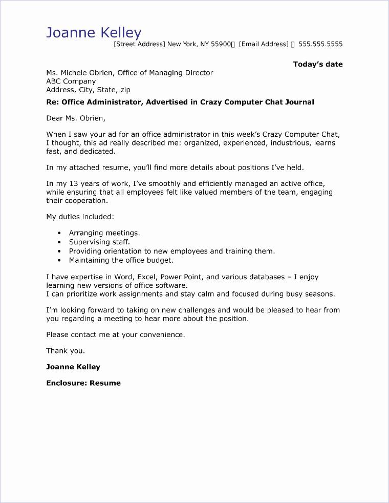 Cover Letter for Office Work Lovely Fice Administrator Cover Letter Sample