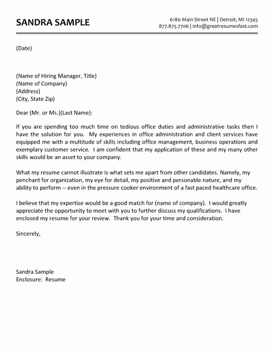 Cover Letter for Office Work Unique Administrative assistant Cover Letter