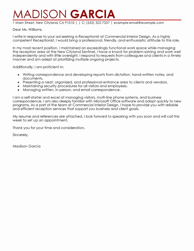 Cover Letter for Office Work Unique Leading Professional Receptionist Cover Letter Examples