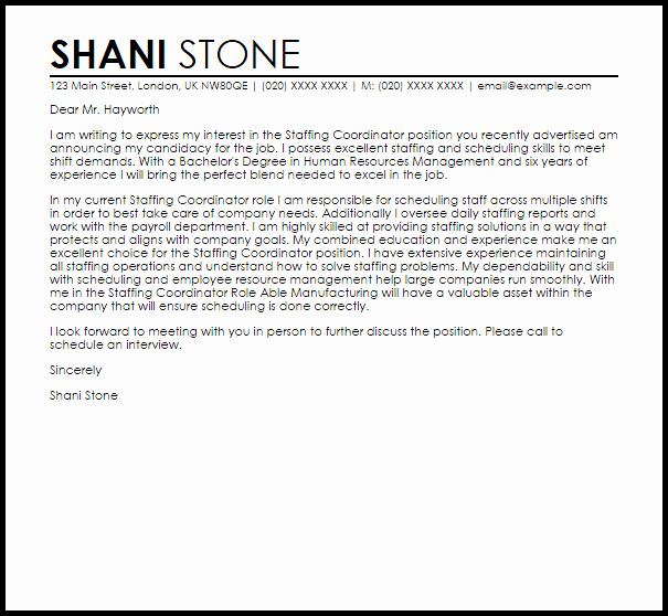 Cover Letter for Staffing Agency Awesome Staffing Coordinator Cover Letter Sample