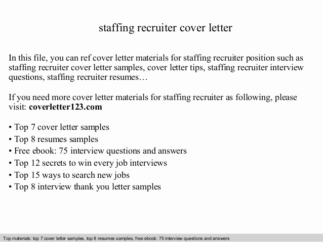Cover Letter for Staffing Agency Best Of Staffing Recruiter Cover Letter